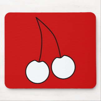 Two Cherries White with Black Outline Mousepad