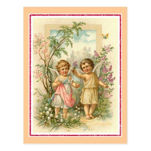 """Two Cherubs in a Garden"" Vintage Post Cards"