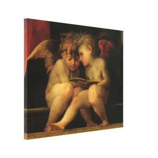 Two Cherubs Reading by Rosso Fiorentino, Angels Canvas Print