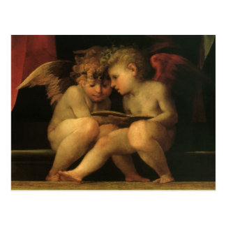 Two Cherubs Reading by Rosso Fiorentino, Angels Postcard