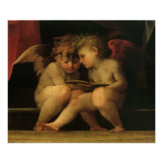Two Cherubs Reading by Rosso Fiorentino Poster
