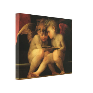 Two Cherubs Reading by Rosso Fiorentino Stretched Canvas Prints