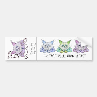 TWO Cheshire Cat Bumper Stickers