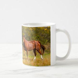 Two Chestnut Horses in Fall Basic White Mug