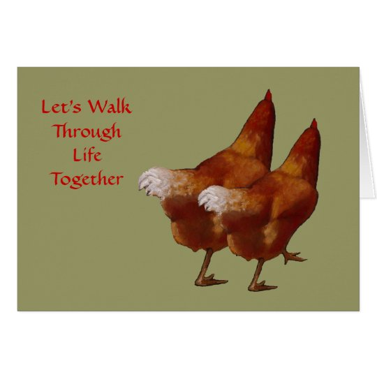Two Chickens Side by Side: Valentine: Art Card