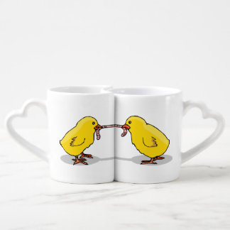 Two Chicks and a Worm Coffee Mug Set