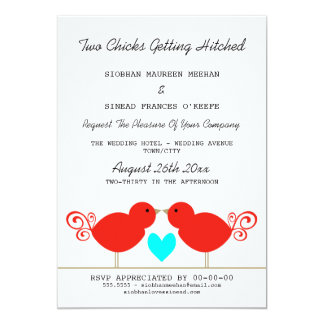 Two Chicks Getting Hitched Lesbian Wedding 13 Cm X 18 Cm Invitation Card