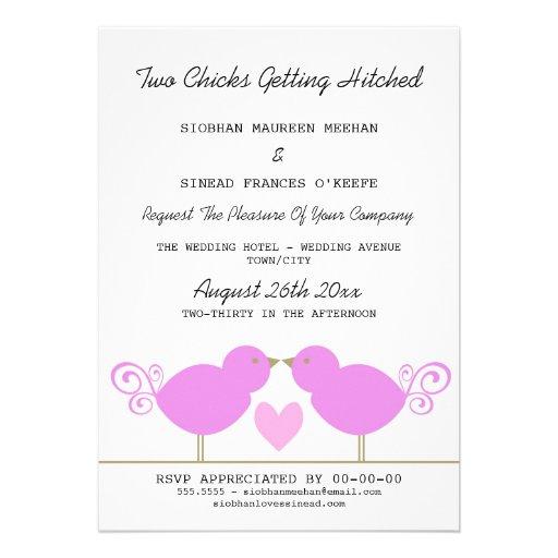 Two Chicks Getting Hitched Lesbian Wedding Custom Invitation