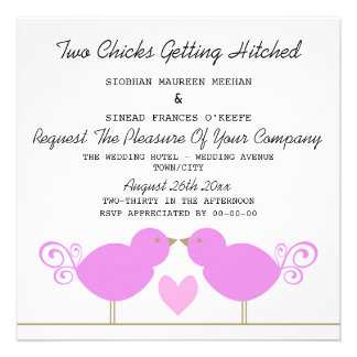 Two Chicks Getting Hitched Lesbian Wedding Custom Announcements
