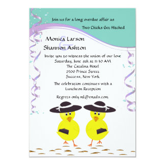 Two Chicks Getting Hitched Lesbian Wedding Invite