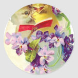 Two Chicks in Egg Shell Sing From Songbook Round Stickers