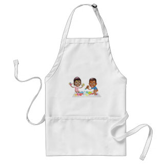 two children playing with paint apron