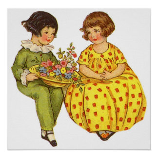 Two Children with Flowers Poster/Print
