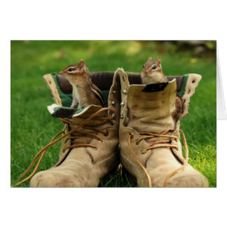 two chipmunks in work boots card