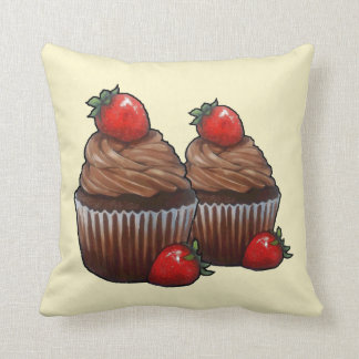 Two Chocolate Cupcakes, Strawberries, Painting Cushion