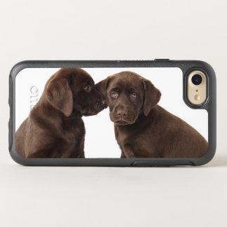 Two chocolate Labrador Retriever Puppies OtterBox Symmetry iPhone 8/7 Case