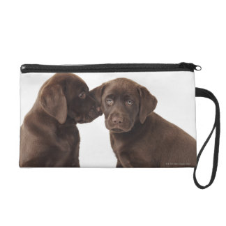 Two chocolate Labrador Retriever Puppies Wristlet Clutch