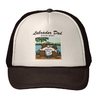 Two Chocolate Labradors and Dad Cap