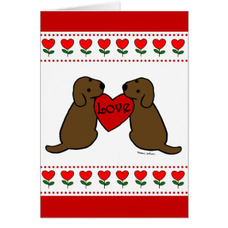 Two Chocolate Labradors with Love Cartoon Greeting Card