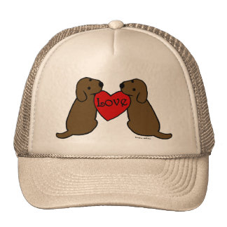 Two Chocolate Labradors with Love Cartoon Mesh Hat