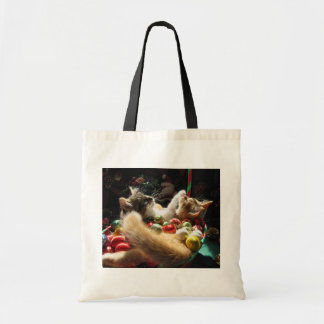 Two Christmas Kitty Cats Kittens Together Basket Canvas Bag