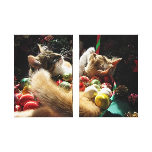 Two Christmas Kitty Cats, Kittens Together, Basket Gallery Wrap Canvas
