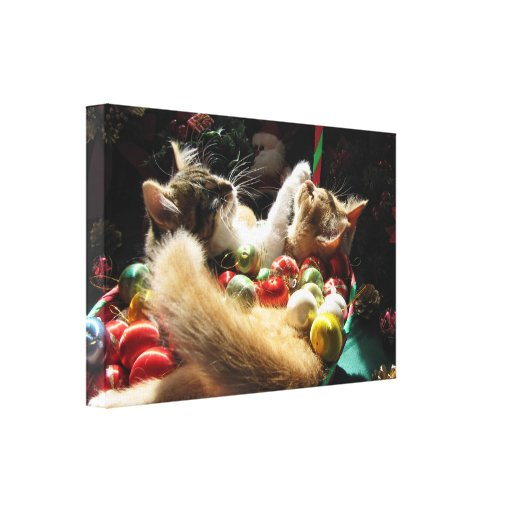 Two Christmas Kitty Cats, Kittens Together, Basket Stretched Canvas Prints