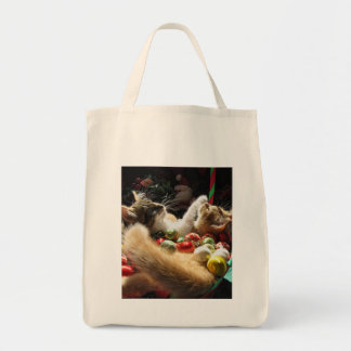 Two Christmas Kitty Cats, Kittens Together, Basket Grocery Tote Bag