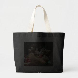 Two Christmas Kitty Cats, Kittens Together, Basket Jumbo Tote Bag