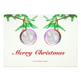 Two Christmas Tree Balls on Branches (2-photo fram Custom Invites