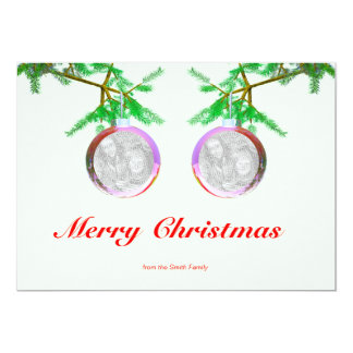 "Two Christmas Tree Balls on Branches (2-photo fram 5"" X 7"" Invitation Card"