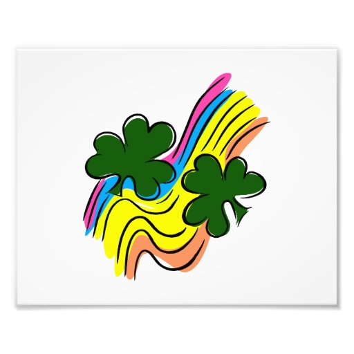 two clovers wavy rainbow lucky design.png photo print