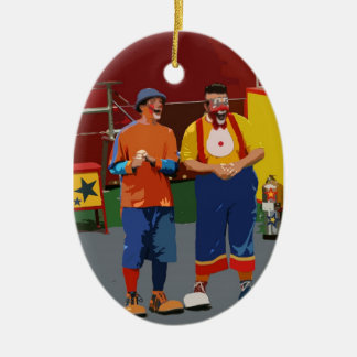 Two clowns cartooned bright colors ceramic oval decoration