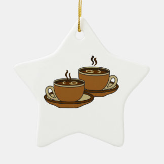 TWO COFFEE CUPS CERAMIC STAR DECORATION