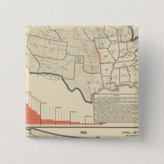 Two color lithographed maps of United States 15 Cm Square Badge