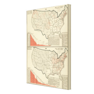 Two color lithographed maps of United States Canvas Print