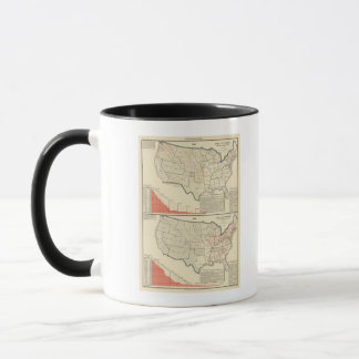 Two color lithographed maps of United States Mug
