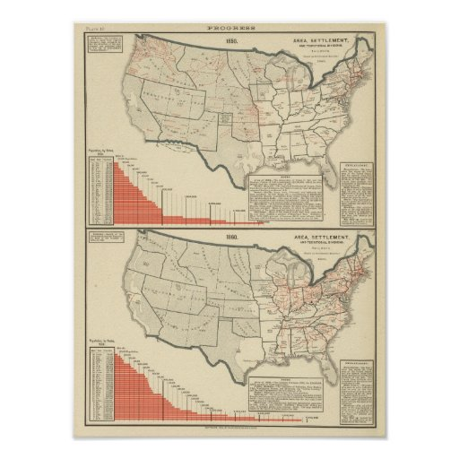 Two color lithographed maps of United States Print