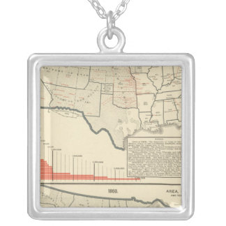 Two color lithographed maps of United States Silver Plated Necklace