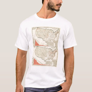 Two color lithographed maps of United States T-Shirt