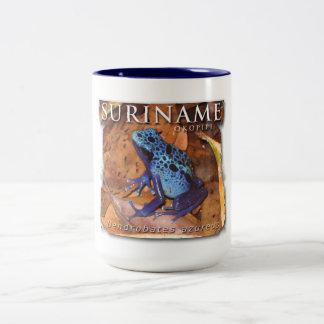 Two-color mug with blue frog