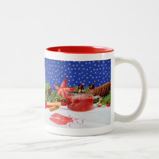 Two-colored cup red with motive for Christmas