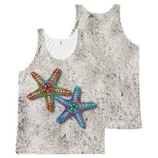 Two Colorful Abstract Psychedelic Starfish Drawing All-Over Print Tank Top