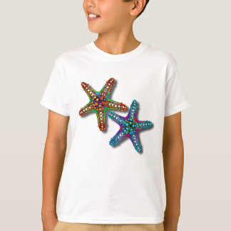 Two Colorful Abstract Psychedelic Starfish Drawing T-Shirt