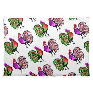Two Colorful Alert Roosters Pattern Placemat