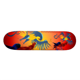 Two Colorful Fighting Roosters Skateboard