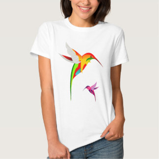 Two Colorful Flying Hummingbirds Tees