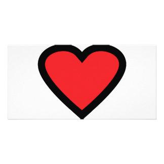 two coloured heart icon custom photo card
