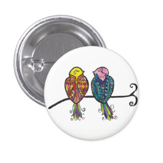 Two Colourful Birds 3 Cm Round Badge