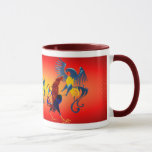 Two Colourful Fighting Roosters_Mugs